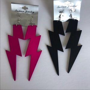 Pink and black thunderbolt lighting bolt earrings